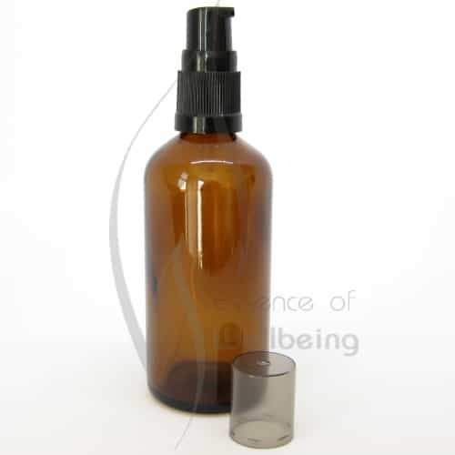 100ml Amber glass bottle with pump attachment 2