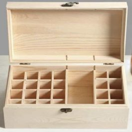 Medium Wooden Essential Oil Box Open