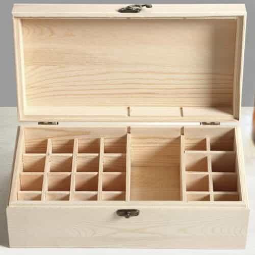 Medium Wooden Essential Oil Box Open
