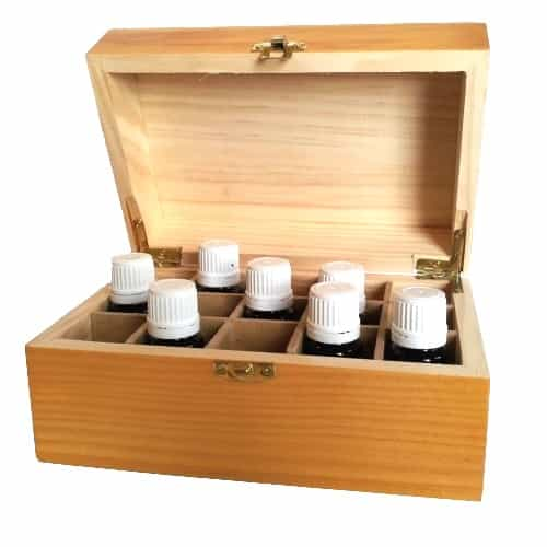 Small Wood Essential Oil Box Open